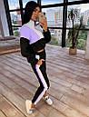 Женский спортивный костюм с кофтой - бомбером с молнией на груди и штанами на резинке 66so1046Q, фото 2