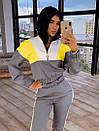 Женский спортивный костюм с кофтой - бомбером с молнией на груди и штанами на резинке 66so1046Q, фото 6