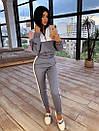 Женский спортивный костюм с кофтой - бомбером с молнией на груди и штанами на резинке 66so1046Q, фото 8
