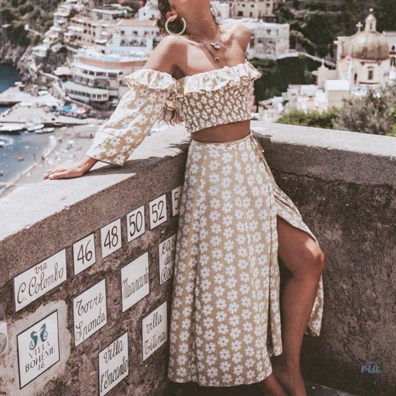 Женский юбочный костюм с длинной юбкой и топом с открытыми плечами 77ks1085