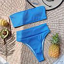 Женский купальник из трикотажа рубчик с бандо и высокими плавками 77kl578, фото 5
