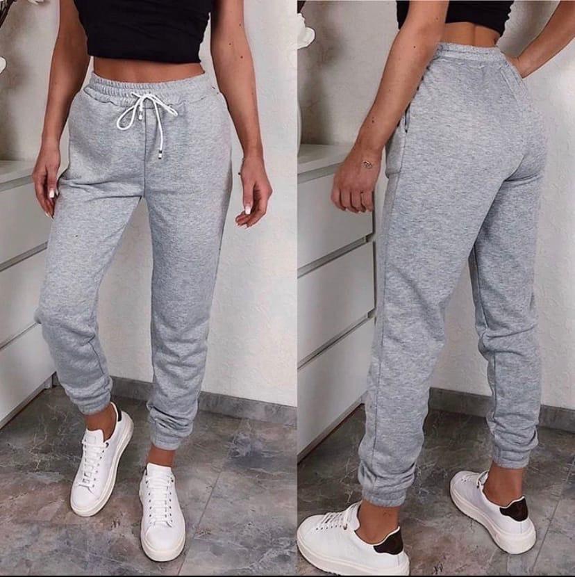 Спортивные женские штаны на резинке с манжетами 52bu506