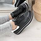 Женские черные кроссовки из натуральной кожи на высокой подошве BO4890, фото 2