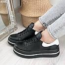 Женские черные кроссовки из натуральной кожи на высокой подошве BO4890, фото 3