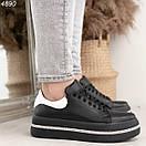 Женские черные кроссовки из натуральной кожи на высокой подошве BO4890, фото 4