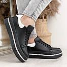 Женские черные кроссовки из натуральной кожи на высокой подошве BO4890, фото 5