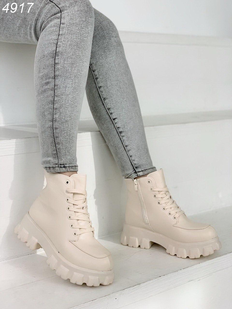 Женские ботинки из экокожи на тракторной подошве BO4917