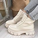 Женские ботинки из экокожи на тракторной подошве BO4917, фото 6