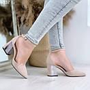 Женские замшевые туфли на квадратном невысоком каблуке BO4838, фото 3