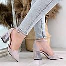 Женские замшевые туфли на квадратном невысоком каблуке BO4838, фото 4