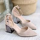 Женские замшевые туфли на квадратном невысоком каблуке BO4838, фото 6