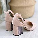 Женские замшевые туфли на квадратном невысоком каблуке BO4838, фото 8