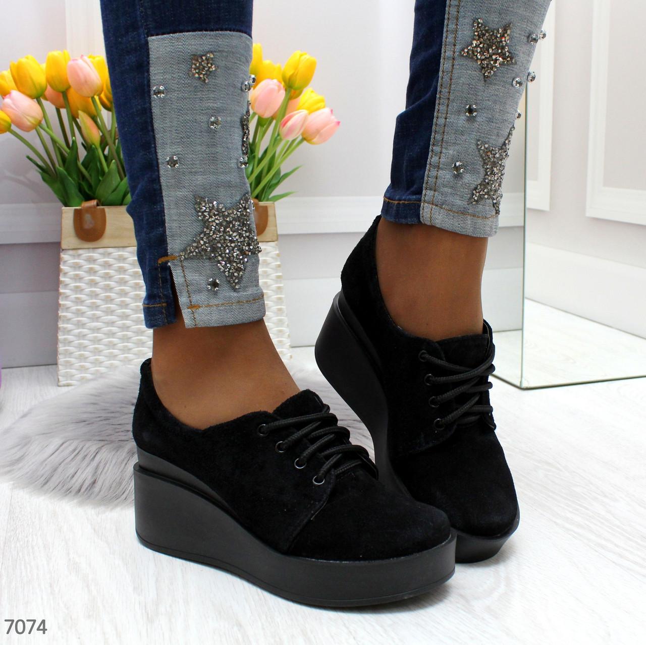 Женские черные закрытые туфли из натуральной кожи на платформе BO7074