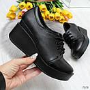 Женские черные закрытые туфли из натуральной кожи на платформе BO7074, фото 2