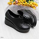 Женские черные закрытые туфли из натуральной кожи на платформе BO7074, фото 3