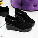 Женские черные закрытые туфли из натуральной кожи на платформе BO7074, фото 4