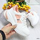 Женские белые спортивные кроссовки с вставками сетки BO6846, фото 2