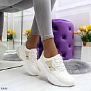 Женские белые спортивные кроссовки с вставками сетки BO6846, фото 3