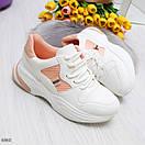 Женские белые спортивные кроссовки с вставками сетки BO6846, фото 4
