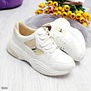 Женские белые спортивные кроссовки с вставками сетки BO6846, фото 5