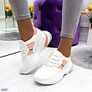 Женские белые спортивные кроссовки с вставками сетки BO6846, фото 6