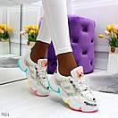 Женские белые кроссовки с разноцветными вставками на подошве BO7021, фото 2