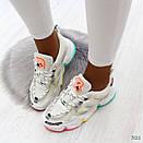 Женские белые кроссовки с разноцветными вставками на подошве BO7021, фото 4