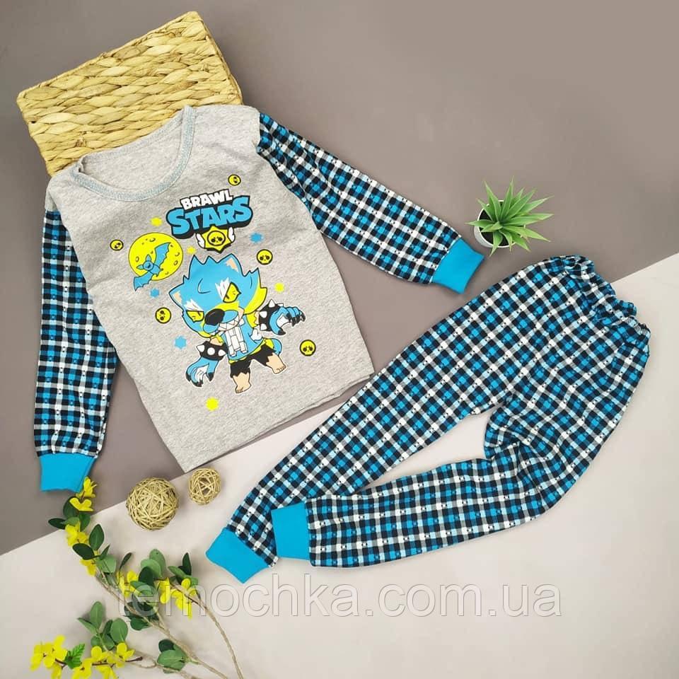 Пижама для дома и сна детская для мальчика серая Бравл Старс Brawl Stars