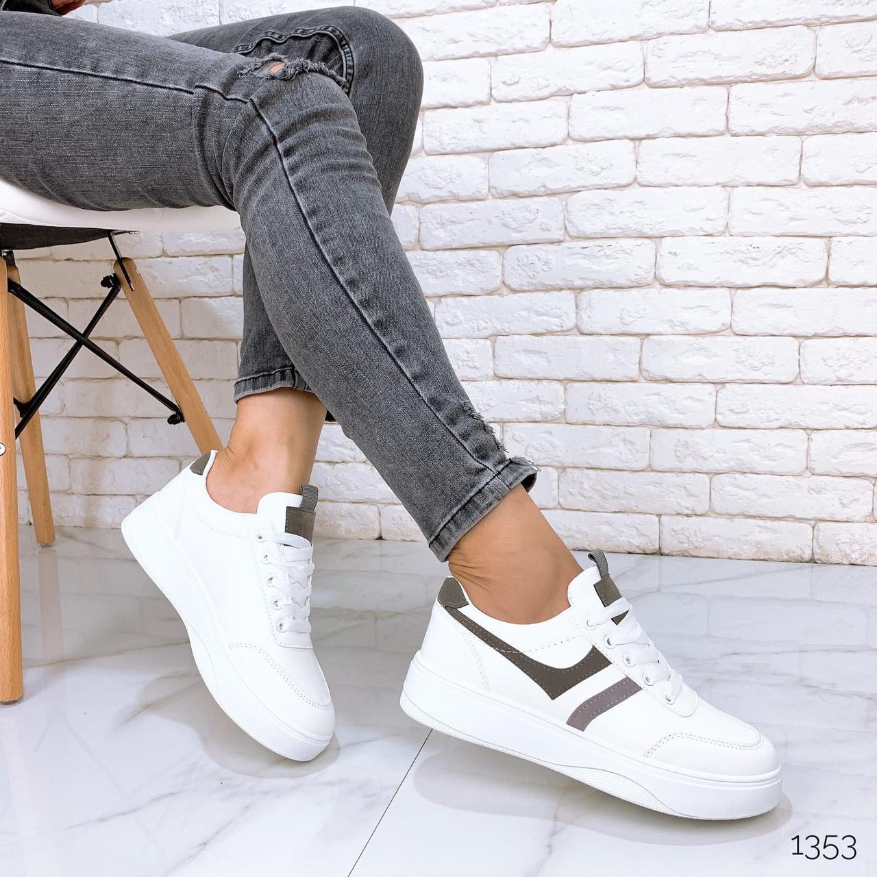 Женские белые кроссовки из экокожи с серыми вставками BO1353