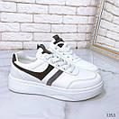 Женские белые кроссовки из экокожи с серыми вставками BO1353, фото 2