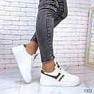 Женские белые кроссовки из экокожи с серыми вставками BO1353, фото 3