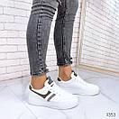 Женские белые кроссовки из экокожи с серыми вставками BO1353, фото 4