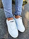 Женские белые кроссовки из экокожи на высокой подошве BO5047, фото 4