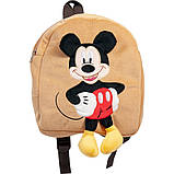 Рюкзак детский для детского садика с Микки Маусом дя малышей бежевый 35см, фото 2