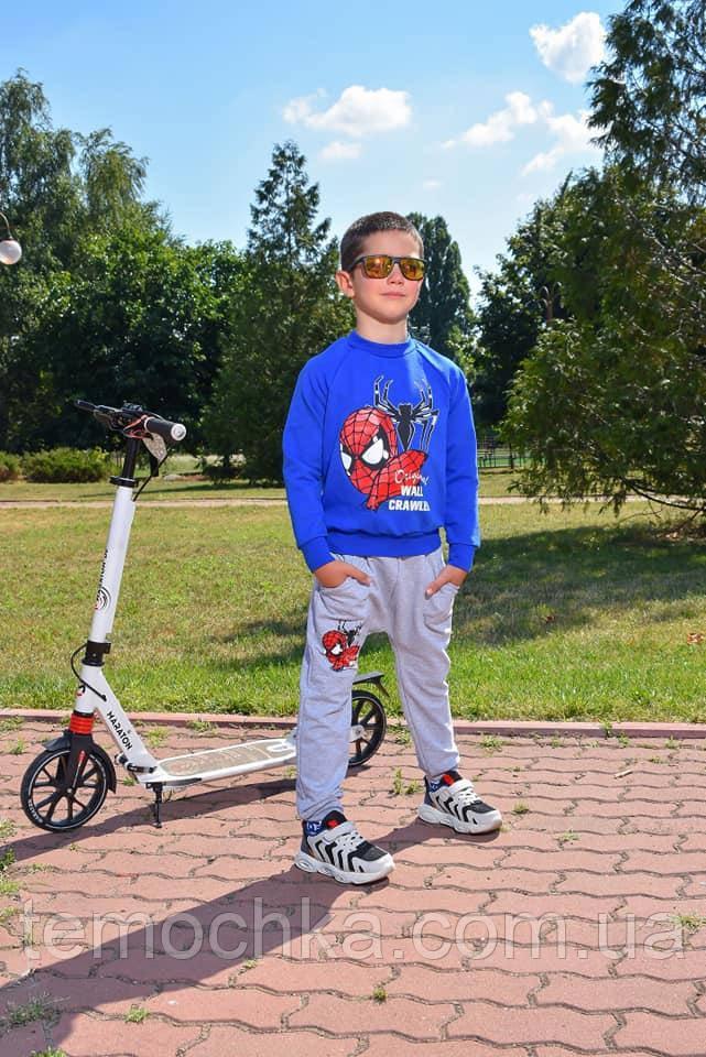 Спортивный детский костюм для мальчика синий Человек Паук Spider Man
