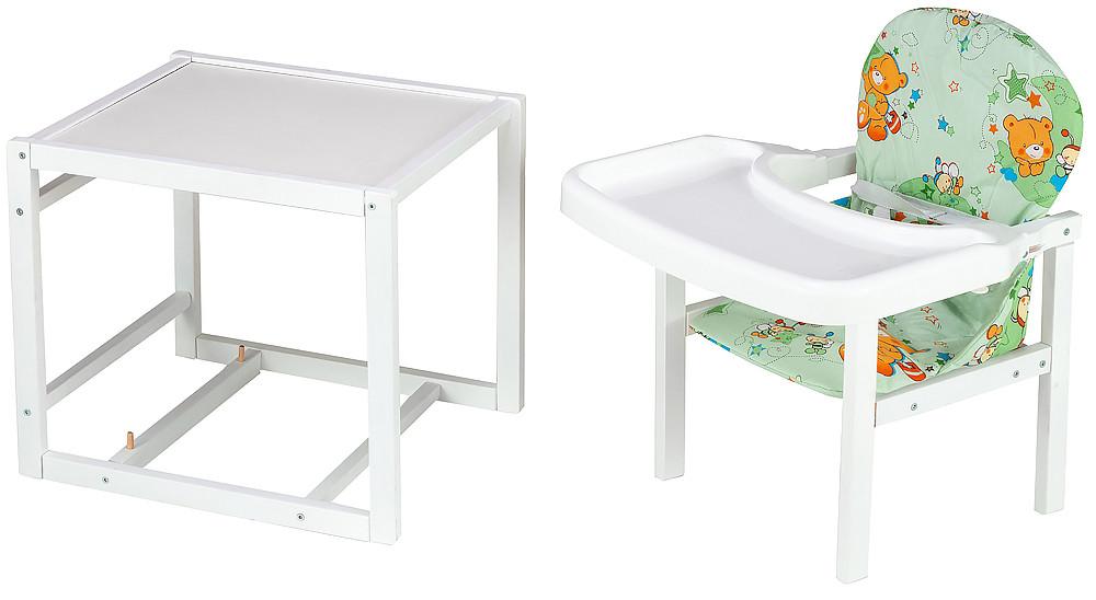 Стільчик - трансформер Babyroom Поні-240 білий пластикова стільниця зелений (ведмедики і бджілки)