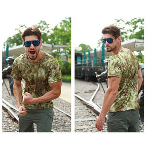 Тактическая футболка с коротким рукавом ESDY A159 Green Kryptek размер XXL мужская армейская, фото 2