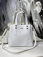 Женская сумка белая небольшая модная среднего размера квадратная городская кожзам, фото 1