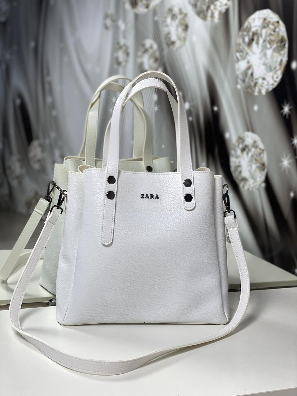 Женская сумка белая небольшая модная среднего размера квадратная городская кожзам