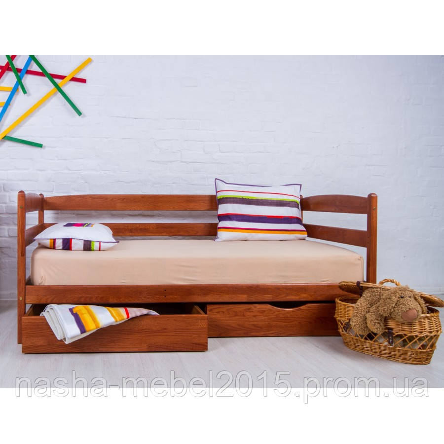 Деревянная Кровать подростковая Ева 90х200 с матрацем и ящиками