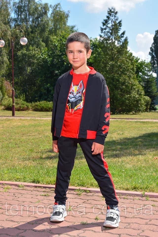 Спортивный детский костюм тройка для мальчика черный с красным