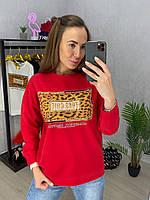 Женский свободный свитшот с рисунком и леопардовой вставкой 33dmde849