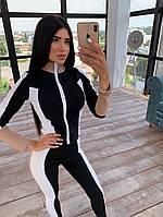 Женский костюм сспортивного стиля с лосинами и облегающей мастеркой на молнии 66msp1045Q, фото 1