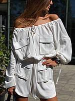 Женский летний комбинезон с открытыми плечами и накладными карманами 83mko1086, фото 1