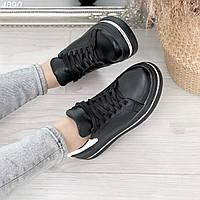 Женские черные кроссовки из натуральной кожи на высокой подошве JS4890, фото 1