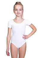 Купальник детский для хореографии и гимнастики Dance&Sport N 6028-2 белый, хлопок