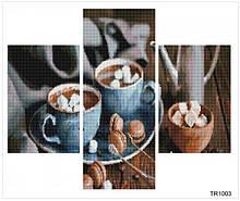 """ТР1003. Алмазная мозаика триптих """"Тільки кава..."""" 2х20х30 1х20х50 TR1003"""