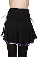 Юбка тренировочная для бальных танцев Dance&Sport NM 8 черная с фиолетовым, масло 36