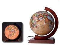 Глобус с подсветкой настольный на деревянной подставке Glowala ретро BST 540141