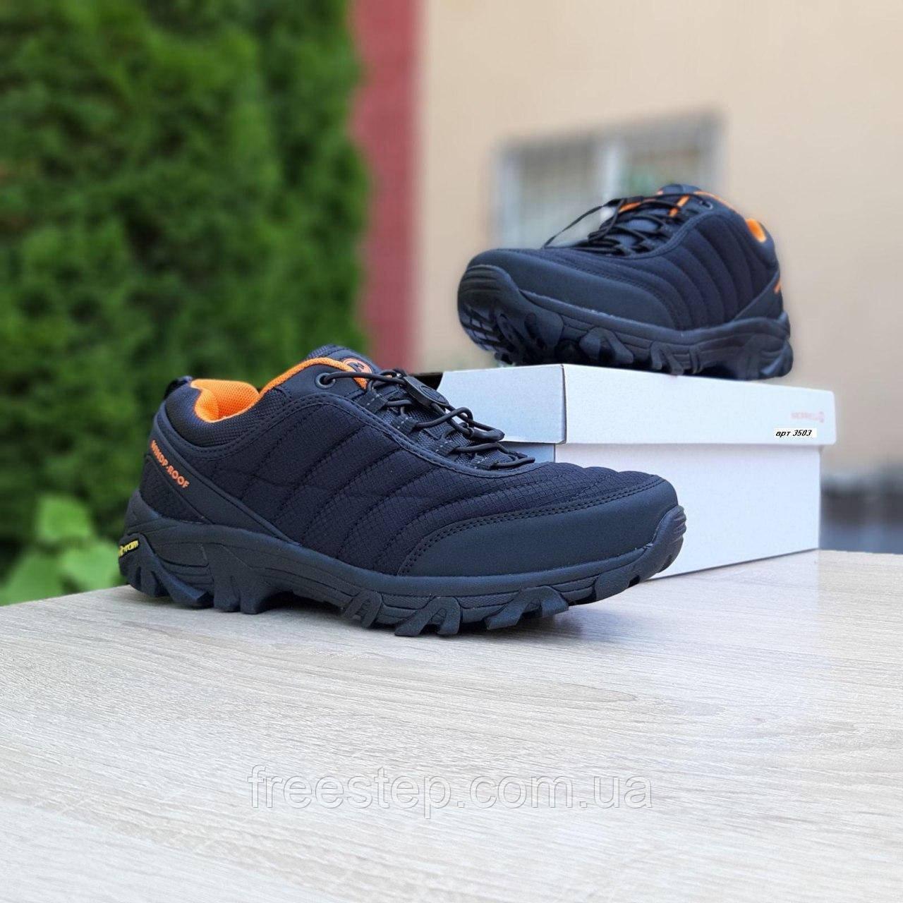 Чоловічі зимові кросівки в стилі Merrell Vibram чорні з помаранчевим